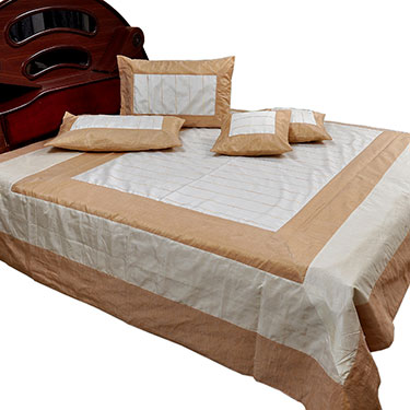 Little India Double Bedcover with 2 Cushion Covers & 2 Pillow Covers - White & Brown- DLI3SLK364
