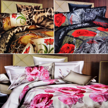 Set of 3 4D Printed Double Bed Sheet With 6 Pillow Cover -M-021_022_023