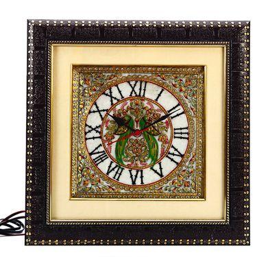 Parrot Motif Marble Wall Clock-MAR15383