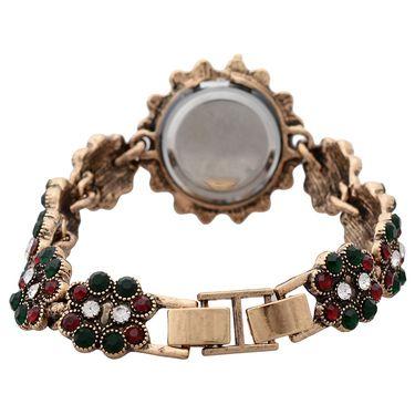 Branded Round Dial Bracelet Diamond Wrist Watch_Mgw04 - Black
