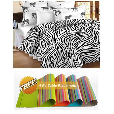 Storyathome Black Contemporary 1 Double Bedsheet With 2 Pillow Cover -MT1203_TT