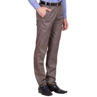 Tiger Grid Cotton Formal Trouser For Men_Md004 - Brown