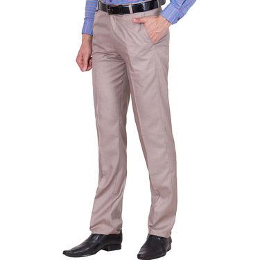 Tiger Grid Cotton Formal Trouser For Men_Md007 - Light Brown