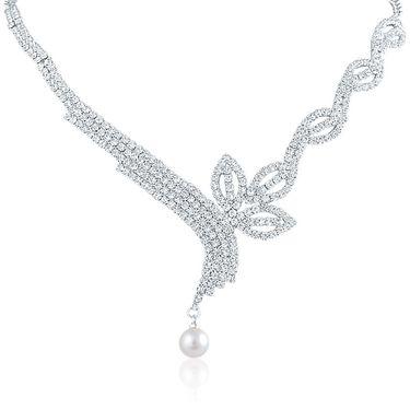 Oviya Rhodium Plated Enticing Bloom Necklace Set_NL2103109R