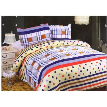 Set of 2 Multicolor Poly Cotton Double Bedsheet with 4 Pillow Covers -NLD-4-07_08