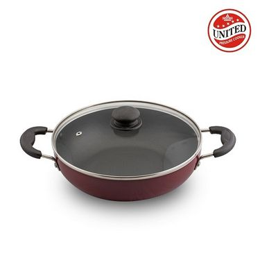 United Cookware Non Stick Deep Kadhai With Glass Lid 260 mm