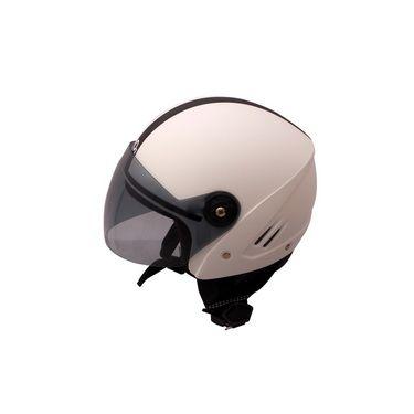 Autofurnish (O2-706) Track Super Open Face Helmet O2 (White) - Smoke Black Glass-O2-706