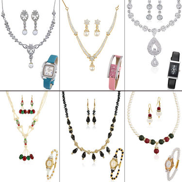 Combo of 6 Necklace Set + 6 Watches By Oleva