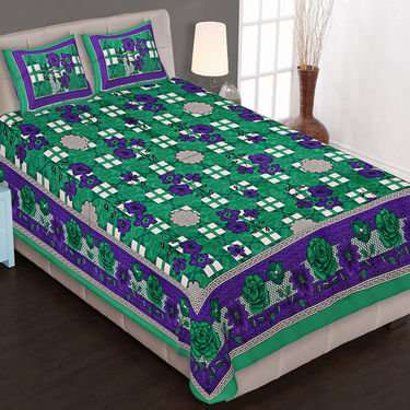 Traditional Jaipuri 100% Cotton Sanganeri Printed 8 Double Bedsheets With 16 Pillow Covers-PF104DWP8B