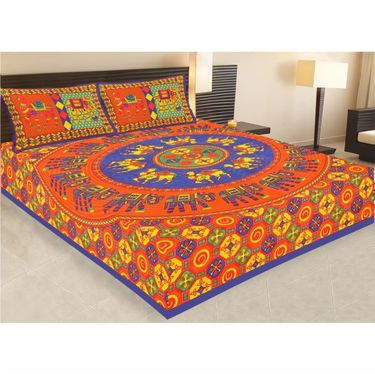 Combo of Jaipuri Print 100% Cotton 1 Diwan Set and 2 King Size Double Bedsheets with 4 Pillow Covers-PF105D2BS1D