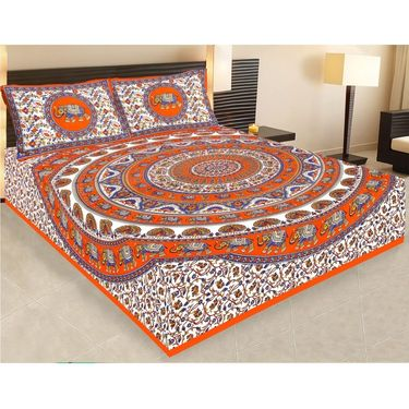 Combo of Jaipuri Print 100% Cotton 1 Diwan Set and 1 Double Bedsheet With Two Pillow Covers-PF115D1BS1D