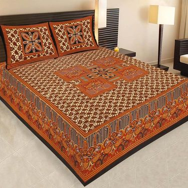 Set of 7 Jaipuri Cotton Sanganeri Printed  Double Bedsheets With 14 Pillow Covers-PF1D7BWP