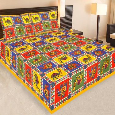 Set of 10 Jaipuri Cotton Sanganeri Printed  Double Bedsheets With 20 Pillow Covers-PF2D10BWP