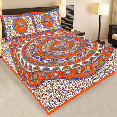 Set of 4  Jaipuri Cotton Sanganeri Printed  Double Bedsheets With 8 Pillow Covers-PF2D4BWP