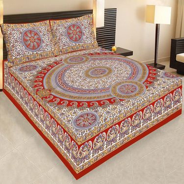 Set of 4  Jaipuri Cotton Sanganeri Printed  Double Bedsheets With 8 Pillow Covers-PF6D4BWP