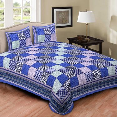 Set of 4 Jaipuri Cotton king size  Double Bedsheets With 8 Pillow Covers-PF8D4BWP