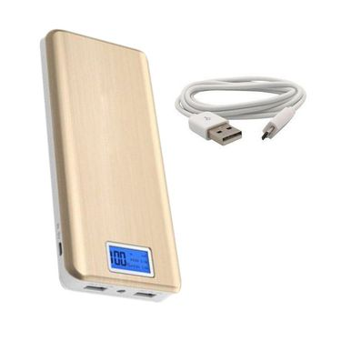 VOX 24000mAh Dual USB with Display Powerbank Portable Charger for Mobile Tablet PK-82 - Golden