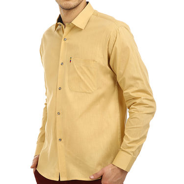 Fizzaro Plain 100% Cotton Casual Shirt_Plcs02 - Beige