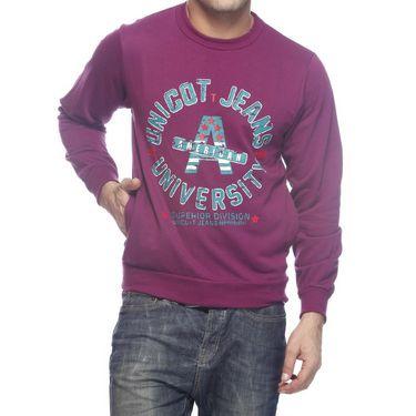 Delhi Seven Printed Round Neck Woolen Sweatshirt For Men - Pink