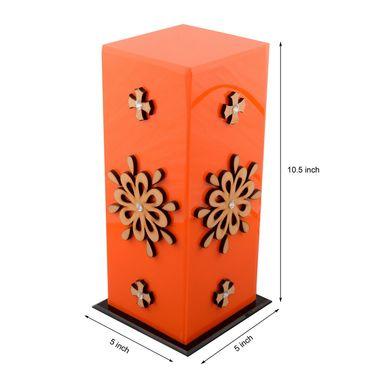 eCraftIndia Floral Wooden Block Acrylic Orange Table Lamp-PLAMP501