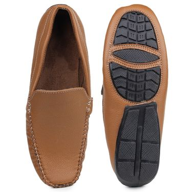 Pede Milan Synthetic Leather Tan Loafers -pde17