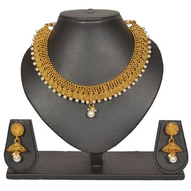 Pourni Stylish Brass Necklace Set_PRNK103 - Golden
