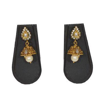 Pourni Stylish Brass Necklace Set_PRNK128 - Golden