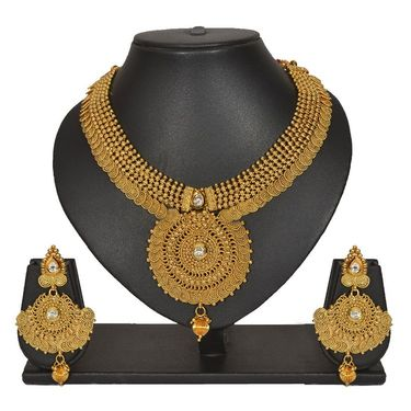 Pourni Stylish Necklace Set_Prnk153 - Golden