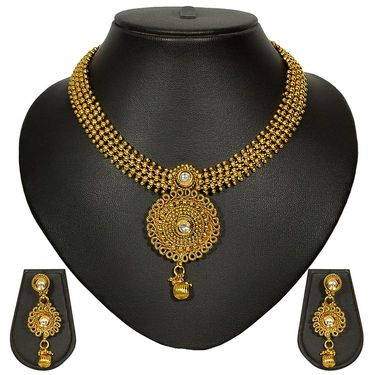 Pourni Stylish Brass Necklace Set_Prnk22 - Golden