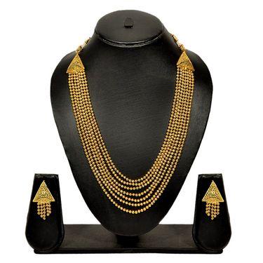 Pourni Stylish Brass Necklace Set_Prnk55 - Golden