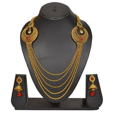 Pourni Stylish Brass Necklace Set_Prnk73 - Golden