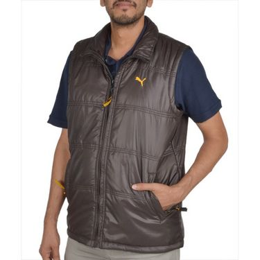 Branded Sleeveless Bomber Jacket (Polyester) For Men _PUMA-BROWN -  Brown
