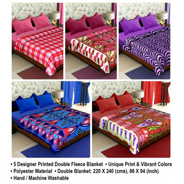 Pack of 5 Designer Printed Double Fleece Blanket-CA_1207