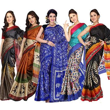 Pack of 5 Ishin Printed Art Silk Saree