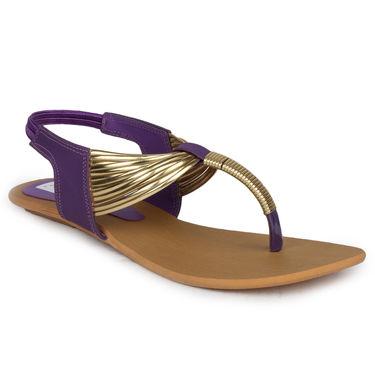 Do Bhai Faux Leather Flats Payal-Purple
