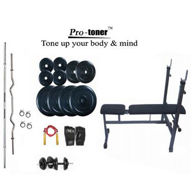 Protoner Weight Lifting Package 95 Kgs + 5 ft. Straight+ 3 ft. Curl Rod + Inc/Dec/Flat 3 In 1 Bench