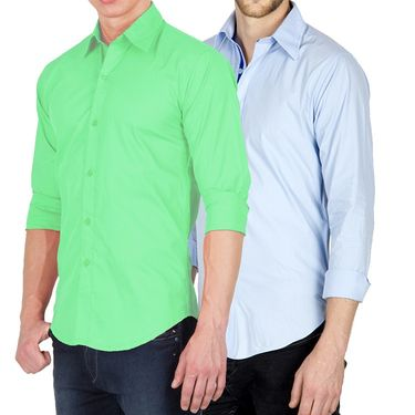 Pack of 2 Incynk Plain Cotton Shirt_qsc53 - Green & Sky Blue