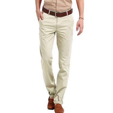 Perfect Plain Slim Fit Cotton Chinos For Men_rgc6007 - Cream