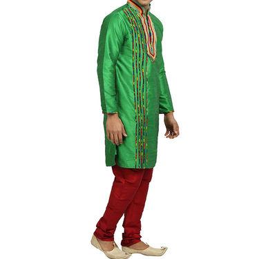 Runako Regular Fit Printed Party Wear Kurta Pyjama For Men_RK4050 - Green
