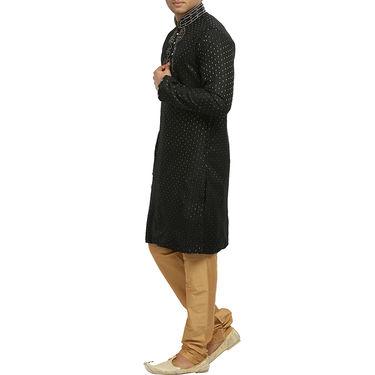 Runako Silk Full Sleeves Kurta Pyjama_RK4054 - Black