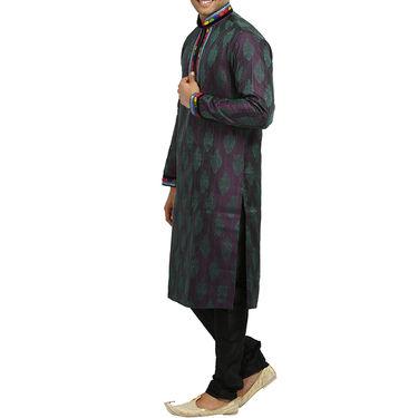 Runako Silk Full Sleeves Kurta Pyjama_RK4066 - Blue Violet