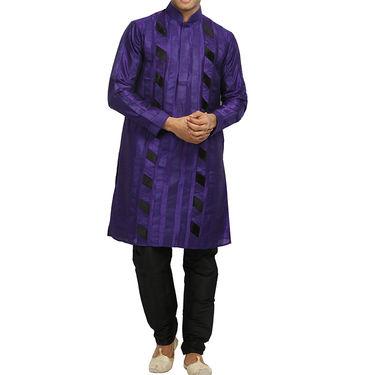 Runako Silk Full Sleeves Kurta Pyjama_RK4069 - Purple