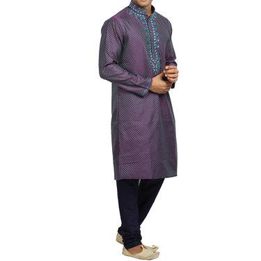 Runako Silk Full Sleeves Kurta Pyjama_RK4081 - Dark Purple