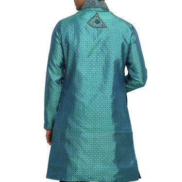 Runako Silk Full Sleeves Kurta Pyjama_RK4083 - Turquoise