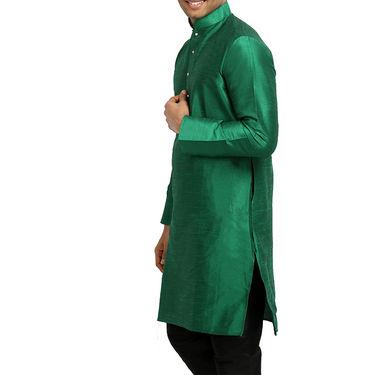 Runako Regular Fit Printed Party Wear Silk Kurta For Men_RK4115 - Green