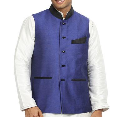 Runako Silk Sleeveless Nehru Jacket_RK4126 - Blue Violet