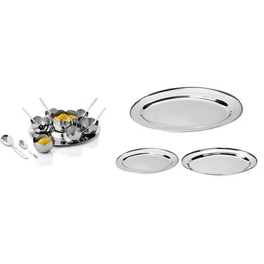 Combo Of 15 Pcs Flower Pudding Set + 3 Pcs Oval Tray Set & Dry Iron