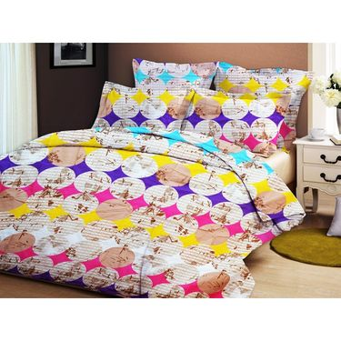 Bellamata Multicolor Print 2 Double Bedsheet With 4 Pillow Covers-RMC06