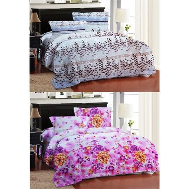 Bellamata Multicolor Print 2 Double Bedsheet With 4 Pillow Covers-RMC08