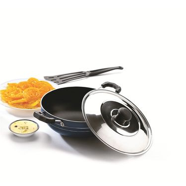 RECON MasterChef Non Stick Deep Kadai with Steel Lid 215mm (2.2ltr)_RMSDK215